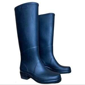 Aigle Women's Tall Black Rain Boots Size 35 Made In France